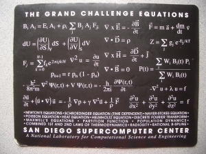 A mouse pad showing The Grand Challenge Equations: San Diego Supercomputer Center .